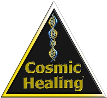 Cosmic Healing Logo - Dreieck mit DNA in gold blau